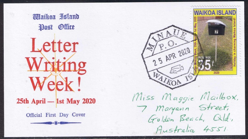 The Letter-Writing Week stamp of 2020 shows a mailbox in Golden Beach, Queensland.