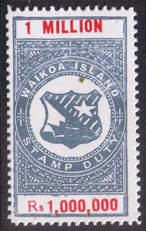 The One Million Reis stamp is mainly used for bribery tax.