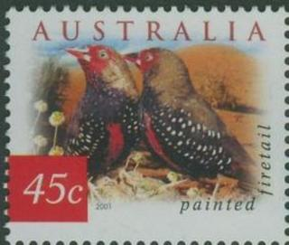 Australia SG 2127 45 Cent Painted Finch Firetail Perf 14 X 1 2 Issued 9 August 2001