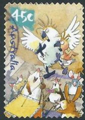 Australia SG 2151 45 Cent Cockatoos Dancing To Animal Band Self Adhesive Perf 11 1 2 Issued October 2001