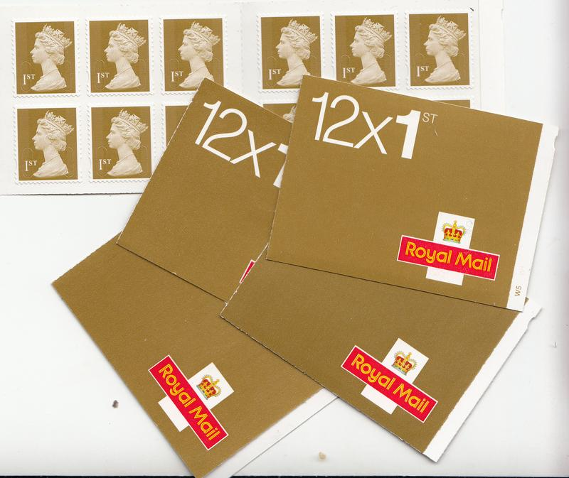 60 Gold Stamps 5 Booklets Of 12 Self Adhesive Face Value 39 With 8 Discount Only 31