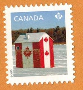 2013 P Stamp Which Sold For 63 Cents This Is A Photo Of An Ice Fishing Hut And Not Outdoor WC